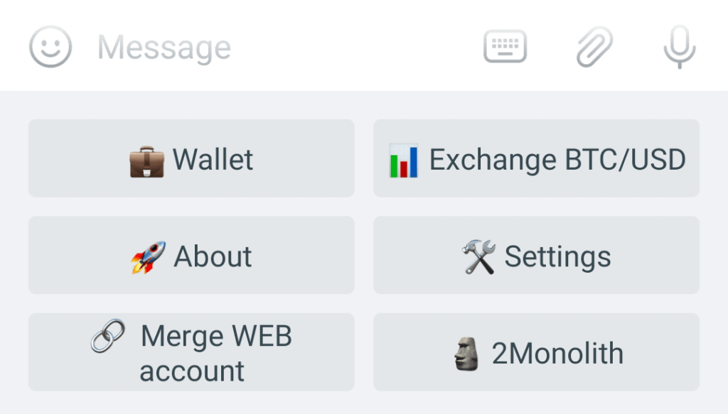 Wallet button in the bot's main menu