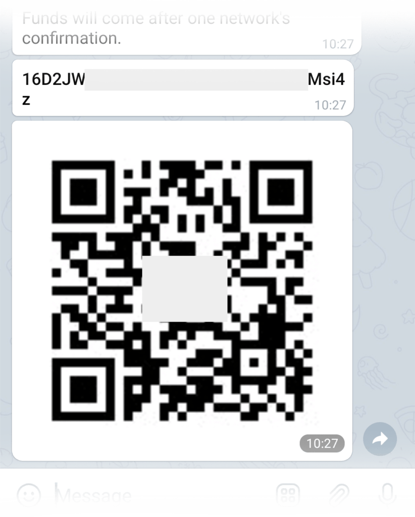 A wallet address as a set of symbols and a QR code