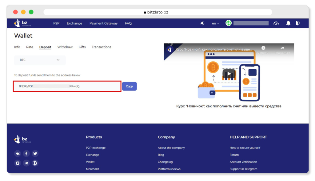 Wallet address and Copy button