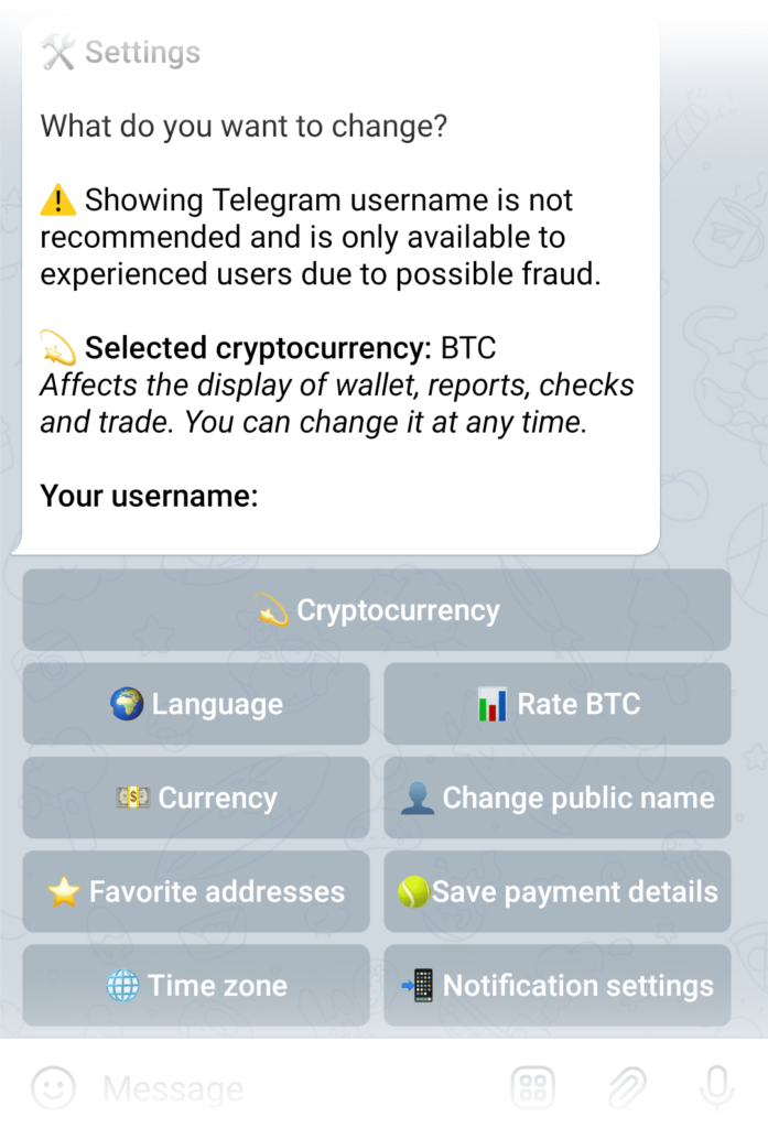 Rate BTC button in the Settings menu