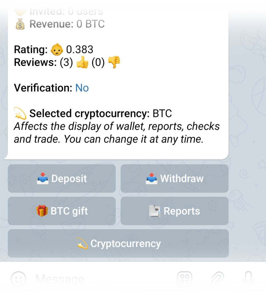Reports button in the Wallet menu
