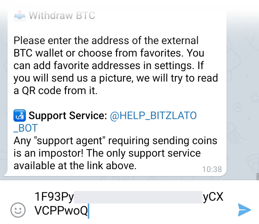 Entering bitcoin wallet address for withdrawal