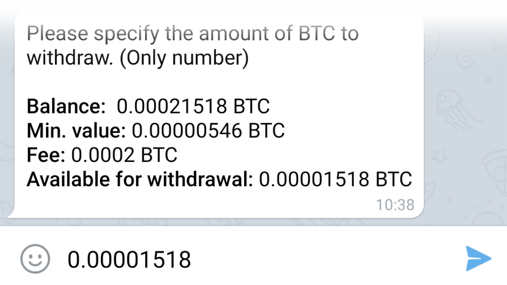 Entering the number of bitcoins to withdraw